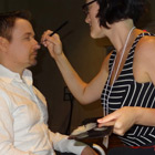 Steve G. Jones in makeup for filming