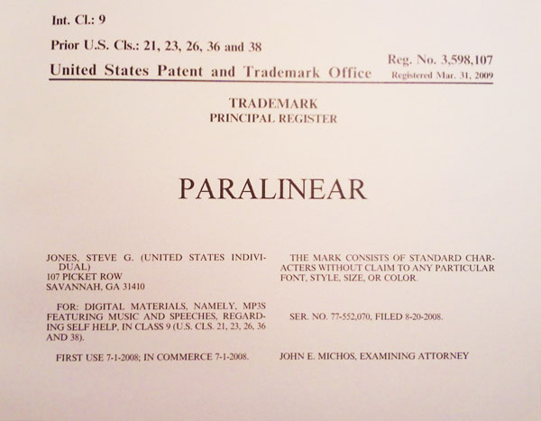 Steve G. Jones Paralinear Registered Trademark
