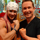 Steve G. Jones with Michelle Ptak, bodybuilder and fitness model